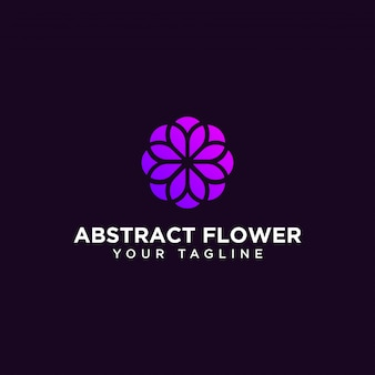 Abstract circle flower logo design template