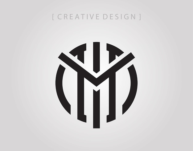 Abstract circle letter m mark logo icon design template.