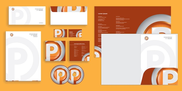Abstract circle letter p 3d modern corporate business identity stationary