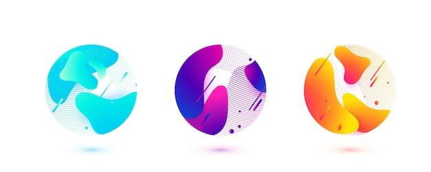 抽象的な円の液体の形。幾何学的な線、丸い形で刻まれた点を持つ勾配波。要素の設計図。