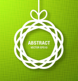 Abstract circle paper applique on green background. vector illustration.