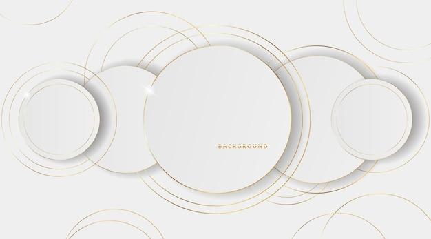 ゴールドライン効果と抽象的な円ペーパーカットレイヤー白い背景