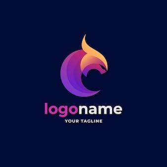 Eスポーツゲーム会社のビジネスのための抽象的な円の形のドラゴンのロゴのグラデーションスタイル