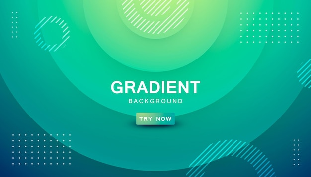 Abstract circle shape yellow and tosca gradient background