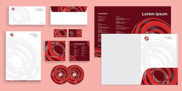Abstract circle spiral maze modern corporate business identity stationary