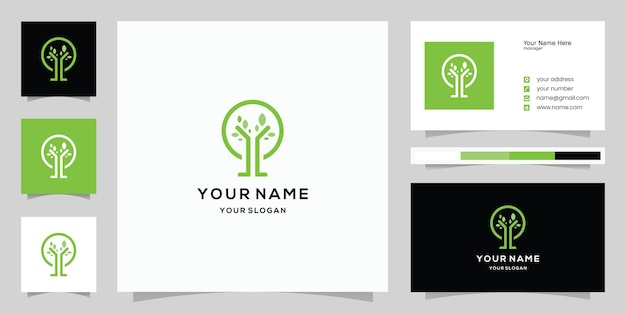 추상적인 원형 나무 로고와 명함 서식 파일