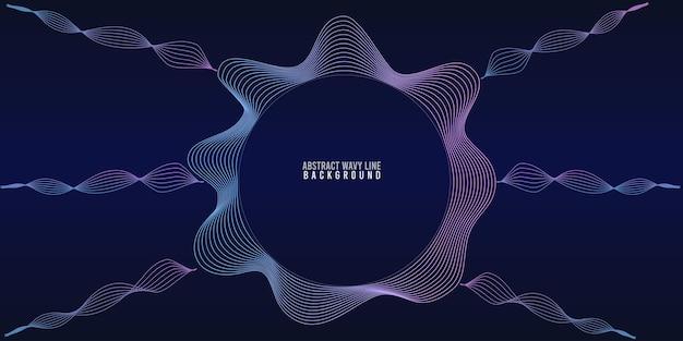 추상 원 웨이브 라인 동적 흐르는 다채로운 빛 블루 그라데이션 배경에 고립. 음악, 파티, 기술, 현대의 개념에서 벡터 일러스트 레이 션 디자인 요소입니다.