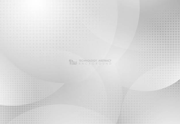Abstract circle white and gray gradient design technology with halftone pattern artwork background.