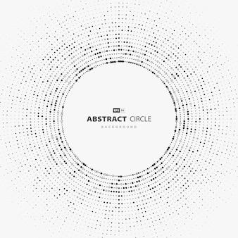 丸い幾何学的なスタイルのハイテクカバーの抽象的な円ドットパターンデザイン。最小限の背景のストロークスタイルの焦点