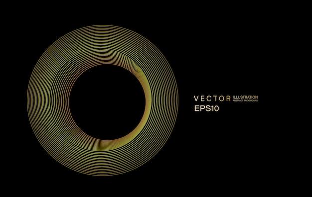 抽象的な円の線は、黒の背景に分離された丸いフレームのカラフルな青緑色の光をパターン化します。コンセプトデジタル、技術のベクトルイラスト。