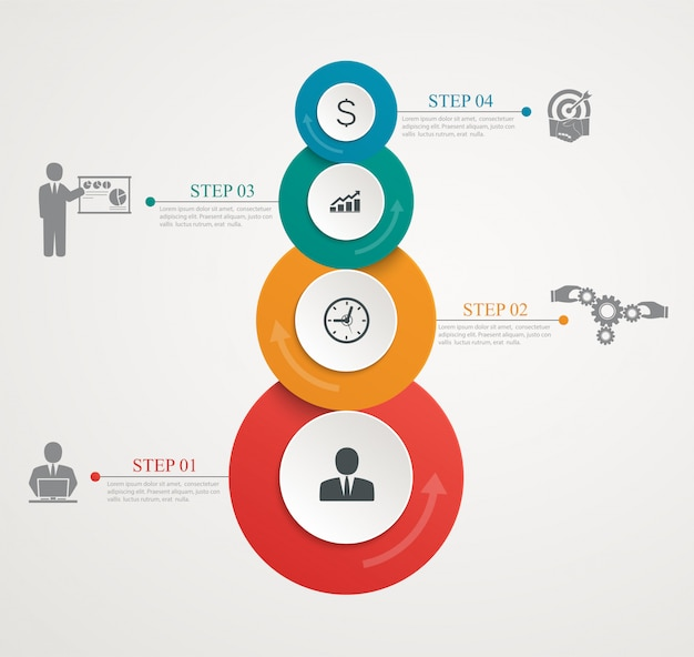 Abstract circles parts infographic with step by step structure. template diagrams, presentation and chart