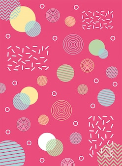 Abstract circles shape collage memphis 80s 90s style abstract