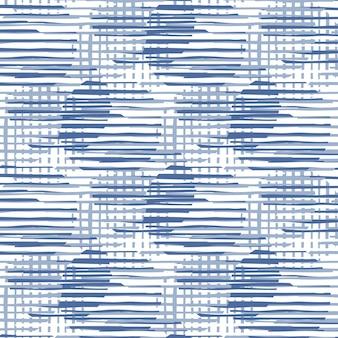 抽象的な円の形とストライプのシームレスなパターンの図。青い色のモダンな混沌としたパターンの円の線。