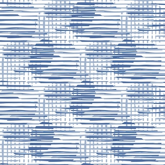 Abstract circles shapes and stripes seamless pattern illustration. modern chaotic pattern circle lines in blue color.