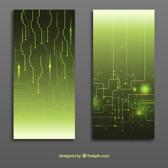 Abstract circuit board banners