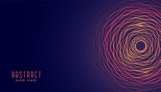 Linee circolari astratte incandescente sfondo