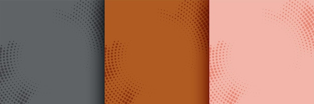 Abstract circular halftone background set of three