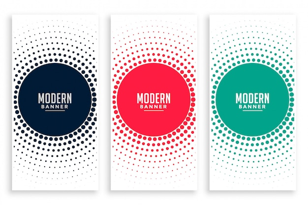 Abstract circular halftone banners set