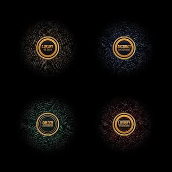 抽象的な円形レトロパターンゴールデンサークルドットパターンベクトルグランジ