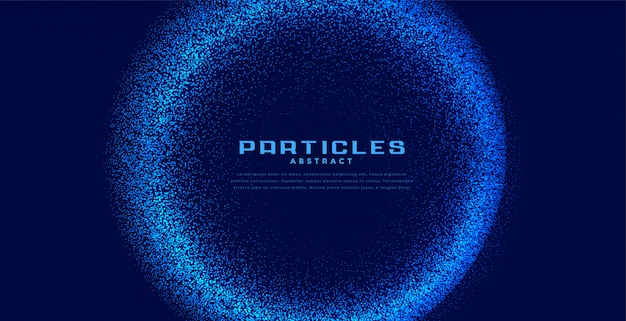 Abstract circular techno particles blue background