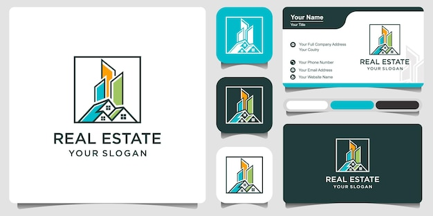 Abstract city building logo design concept with business card. home, residential, apartment and city landscape icon symbol.