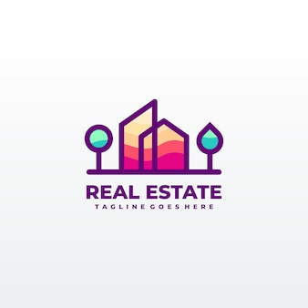 Abstract city building logo design concept