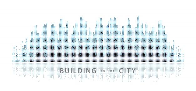 Abstract city, equalizer background. transparent city landscape, dots building.
