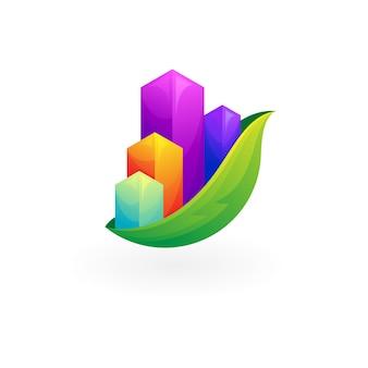 抽象的な都市のロゴと葉のデザインの自然のアイコン、