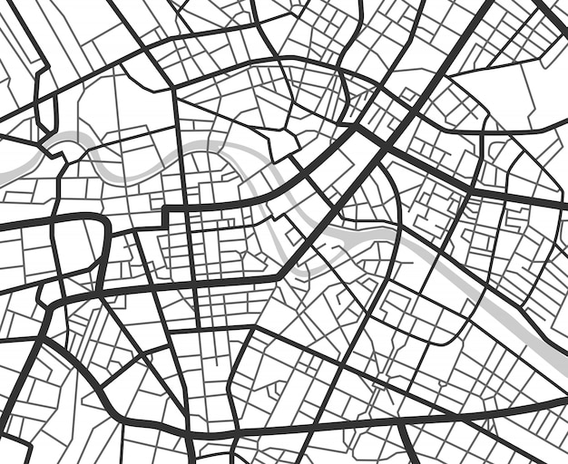 Abstract city navigation map with lines and streets.