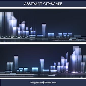 Paesaggio urbano astratto in design piatto