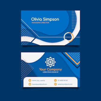 Abstract classic blue business card concept