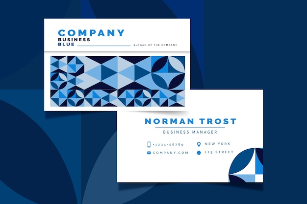 Abstract classic blue business card template concept