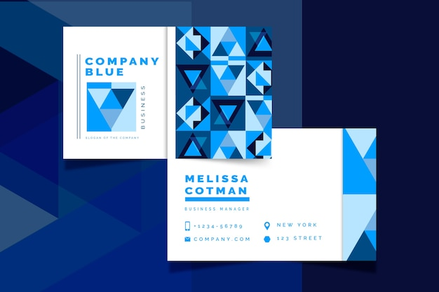 Abstract classic blue business card template design