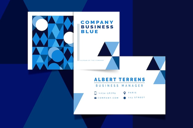 Abstract classic blue business card template theme