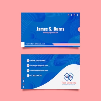Abstract classic blue business card theme
