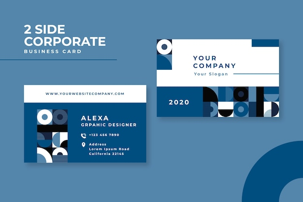 Абстрактная классическая голубая концепция для визитной карточки