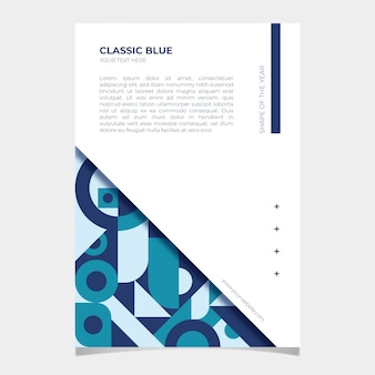 Abstract classic blue flyer template with shapes