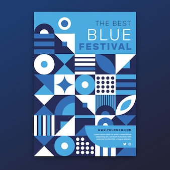 Abstract classic blue flyer template
