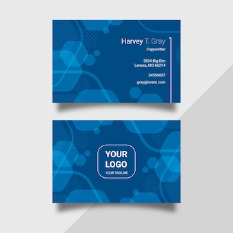 Abstract classic blue template business card pack