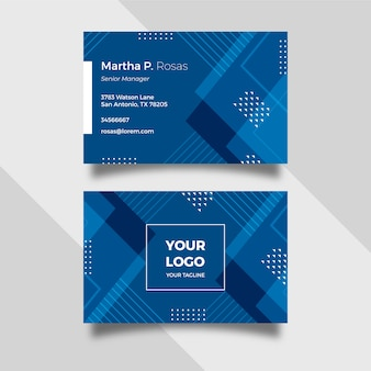 Abstract classic blue template business card set