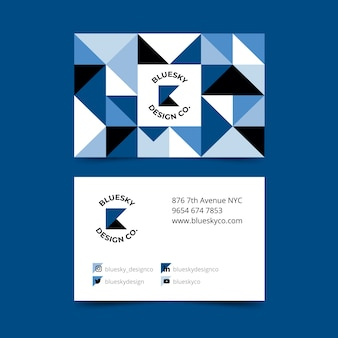 Abstract classic blue theme for business card template