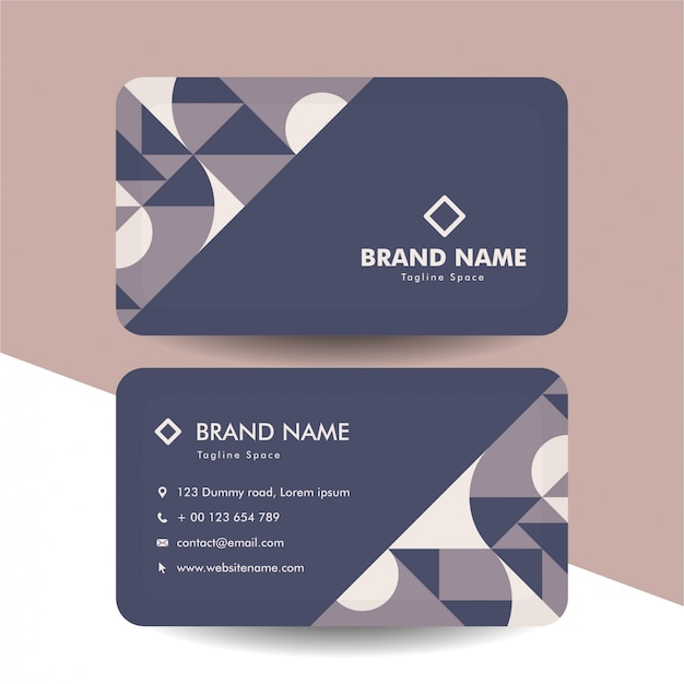 Abstract classic color business card template with geometric design