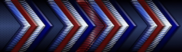 Abstract classic red geometric metallic on dark blue background