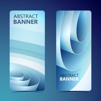 Abstract clean vertical banners with blue rolled wrapping paper coil isolated