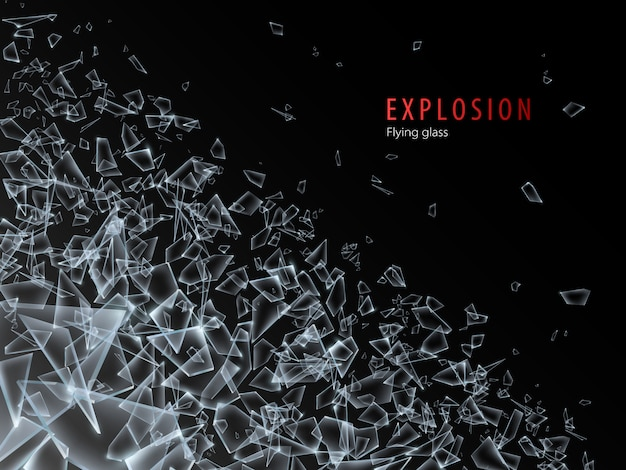 Abstract cloud of glass pieces and fragments after explosion. shatter and destruction effect. illustration.