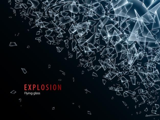 유리 조각 및 폭발 후 파편의 추상 구름. 산산조각 및 파괴 효과. 삽화.