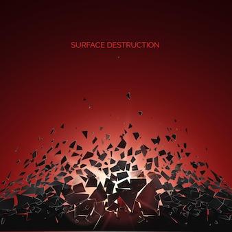 爆発後の断片と断片の抽象的な雲。粉砕と破壊の効果。表面解体。図