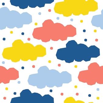 Абстрактное облако бесшовный фон фон. детское простое приложение, облачное небо, обложка для дизайнерской открытки, обоев, альбома, альбома для вырезок, праздничной упаковочной бумаги, текстильной ткани, принта на сумке, футболки и т. д.