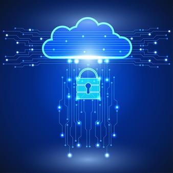 Абстрактный фон облачных технологий в сети интернет. наука, футуристический, сеть, концепция сети. eps 10