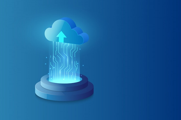 Abstract cloud technology system sci fi background